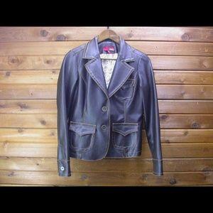 Vanity Brown Faux Leather Jacket - Size Medium